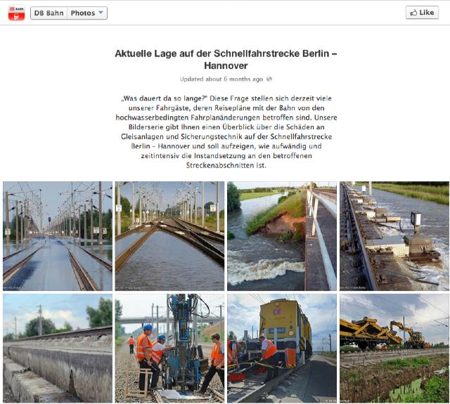 Die Bahn informiert über den Wasserstand im Sommer 2013. Fotos: Deutsche Bahn.