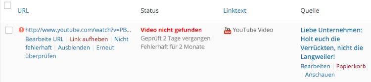 ein fehlerhafter YouTube-Link wurde erkannt