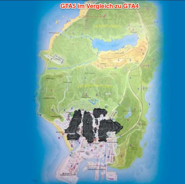 GTA5 Karte im Vergleich zu GTA4