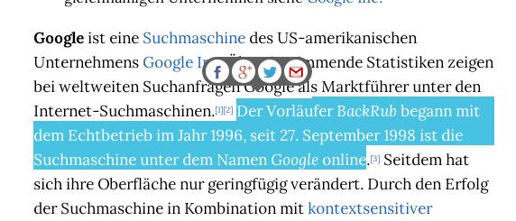 Der markierte Text wird als Beschreibungstext beim Teilen des Links benutzt