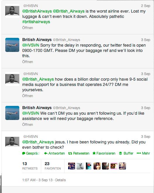 British Airways agiert in dem Dialog überraschend nach Leitfaden