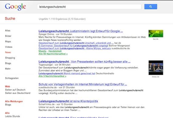 Leistungsschutzrecht-Google-Suche