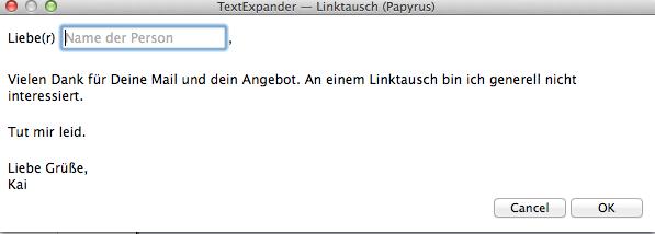TextExpander-Vorlage