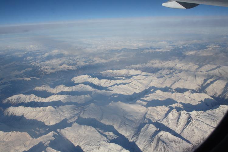 Die Alpen auf der Strecke CDG-DXB