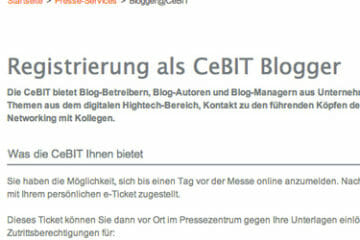 CeBIT Blogger Anmeldung