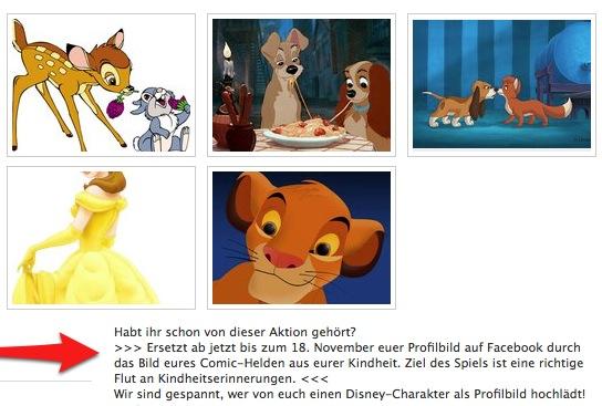 Disney Deutschland animiert die Fans und unterrichtet sie gleichzeitig über die Aktion