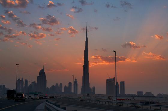 Dubai Skyline Burj Khalifa Abendrot