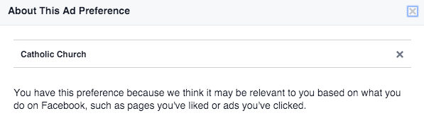 Facebook Ad Preferences Details