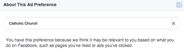 Facebook Ad Preferences Details