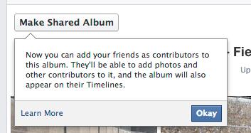 Facebook macht einen Hinweis für bereits bestehende Album, diese nun teilen zu können