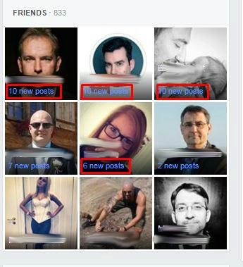 Die Anzeige der verpassten Beiträge in der Box des Profilbildes