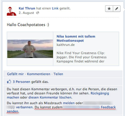 Facebook Spamlink mit Dialogoption