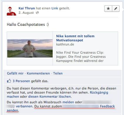 Facebook Spamlink mit Dialogoption