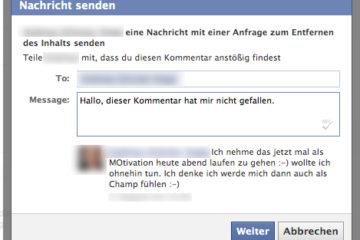 Facebook Dialog bei gelöschten Spamkommentaren
