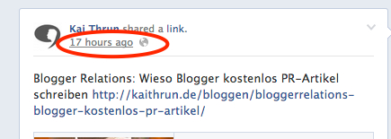 Facebook Post Zeitstempel