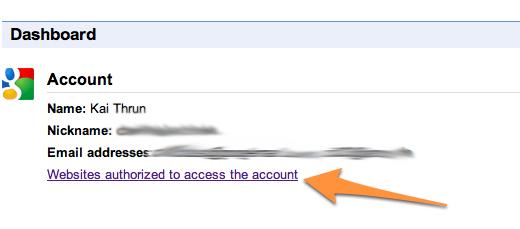 Welche Webseiten haben Zugriff auf den Account?