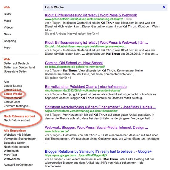 Google Suche der letzten Woche