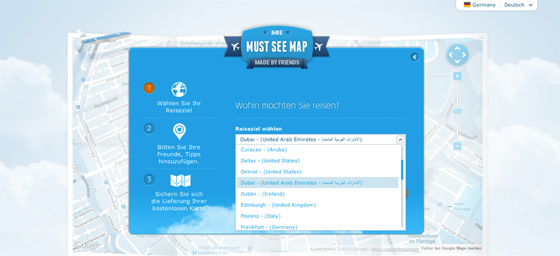 KLM Must See Map - Ort aussuschen