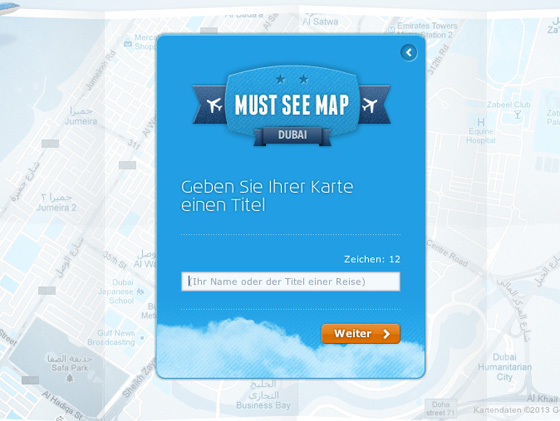KLM Must See Map - Namen eingeben