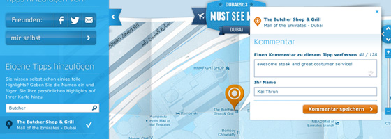 KLM Must See Map - Tipps abarbeiten