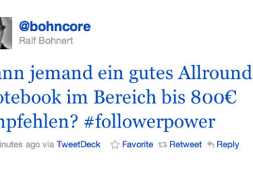 Notebooksuche bei Twitter